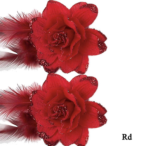 2360 Flower with Glitter (pair) - Click Image to Close